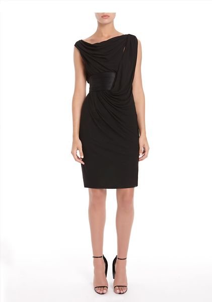 Alexander Wang Draped Dress with Cummerbund Detail in Black - Lyst
