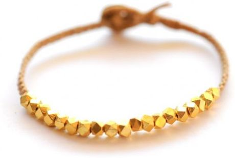 Vivien Frank Designs Chunky Faceted Gold Nuggets On Butterscotch Irish in Gold