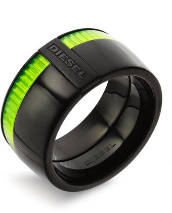 Diesel Green Accent Stainless Steel Ring - Lyst