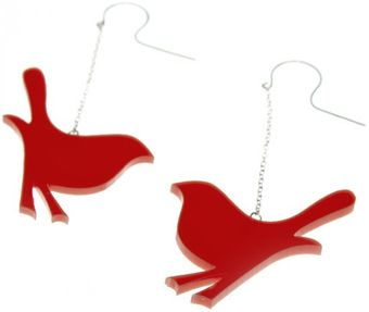 Emma Guest Jewellery Silver Bird Chain Earring - Orange - Lyst