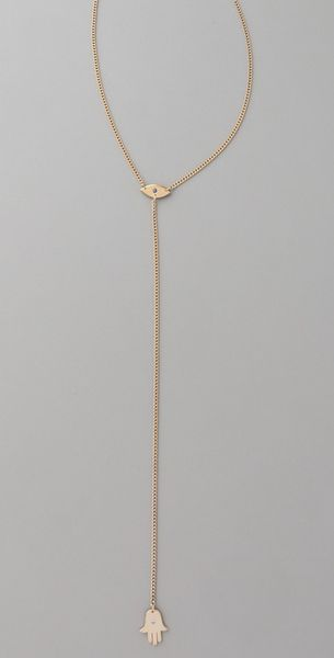 Jennifer Zeuner Mini Eye & Hamsa Necklace in Yellow - Lyst