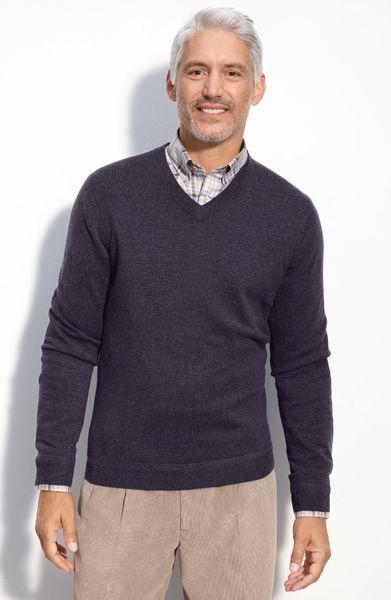 John W. Nordstrom® Cashmere V-neck Sweater in Blue for Men (gothic)