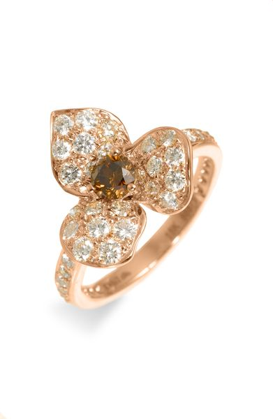 Kwiat Champagne Diamond Flower Ring in Pink (rose gold) - Lyst