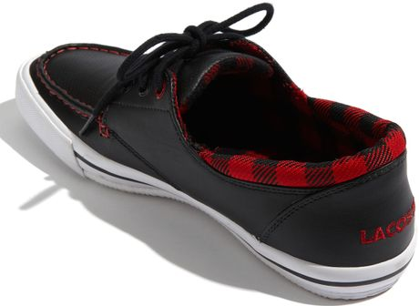 lacoste shakespeare boat shoe in black for men black red