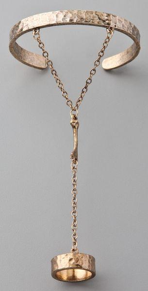 Low Luv By Erin Wasson Bone Hand Bracelet in Gold