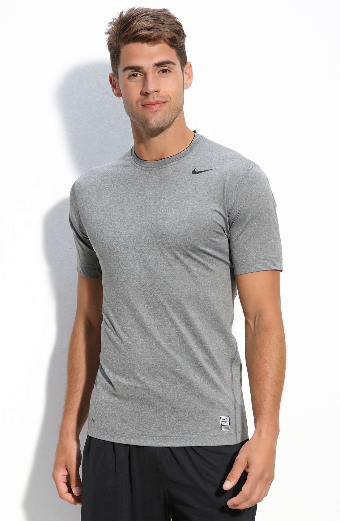 Nike Pro Combat Dri Fit Fitted T Shirt In Gray For Men