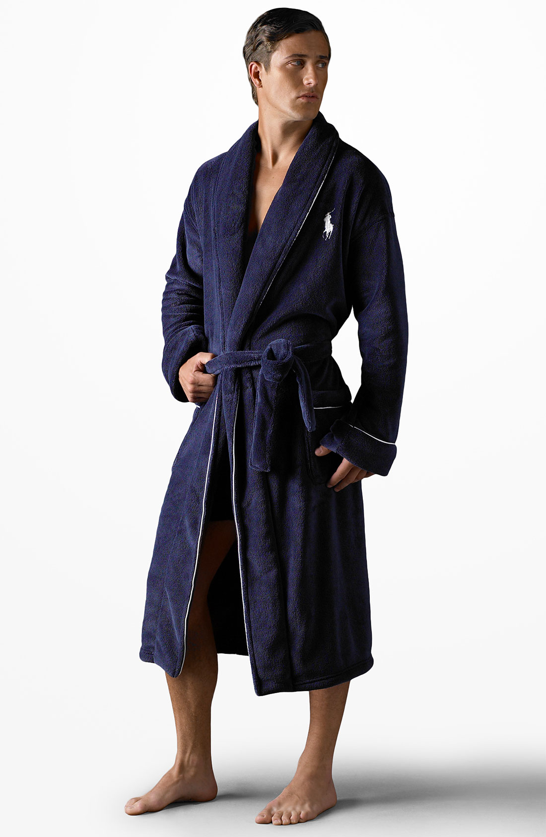 lyst polo ralph lauren microfiber robe in blue for men
