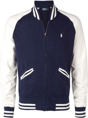 Polo Ralph Lauren Navy Contrast Sleeve Varsity Sweat Jacket - Lyst