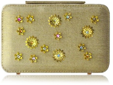 Poupee Couture Gold Flower Box Clutch in Gold - Lyst
