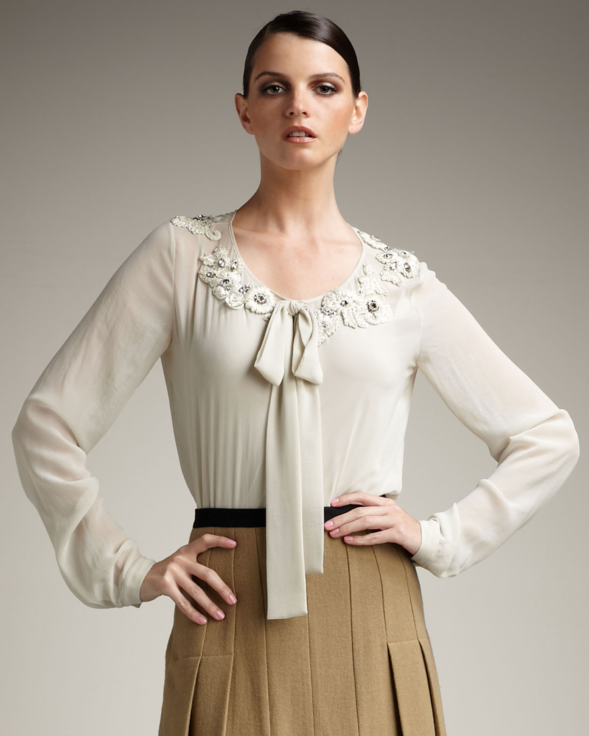 Robert Rodriguez: Robert Rodriguez Embroidered Chiffon Blouse In Beige