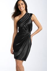 Adrianna Papell One Shoulder Twist Satin Dress - Lyst