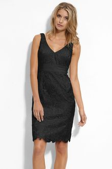 Adrianna Papell V-neck Lace Sheath Dress - Lyst