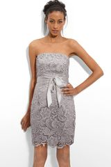 Adrianna Papell Strapless Lace Sheath Dress - Lyst
