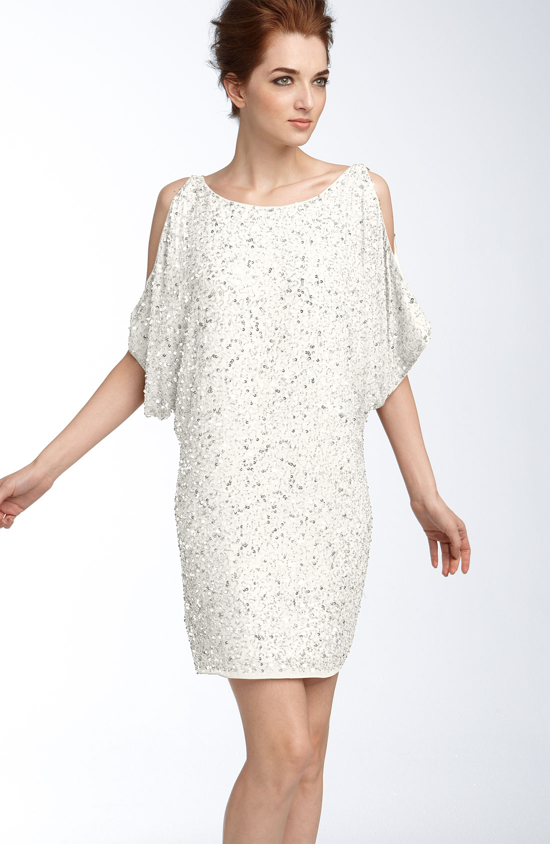 Aidan mattox Cold Shoulder Sequin Dress in White | Lyst