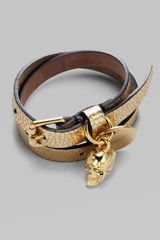 Alexander McQueen Leather & Skull Wrap Bracelet