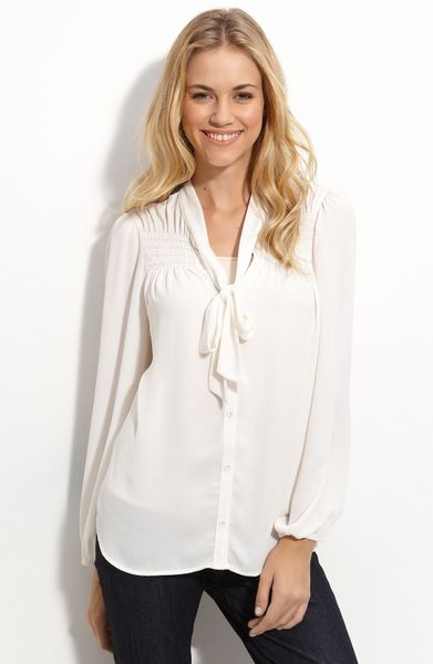 Bellatrix Tie Front Blouse In White Ivory Lyst