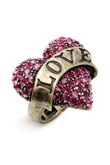 Betsey Johnson Lady Luck Heart Stretch Ring - Lyst