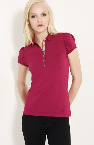 Burberry Brit Gathered Sleeve Polo in Pink (fritillary pink) - Lyst