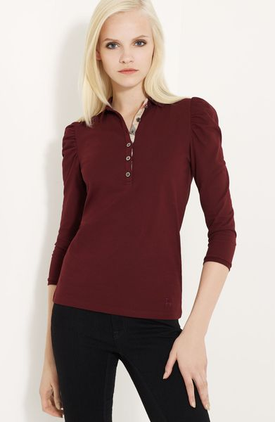 Burberry Brit Puff Shoulder Polo in Red (red claret) - Lyst