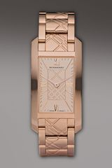 Burberry Check-engraved Rectangular Watch - Lyst