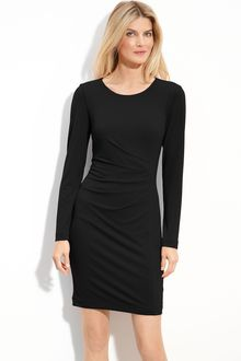 Calvin Klein Gathered Long Sleeve Jersey Dress - Lyst