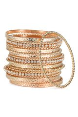 Cara Accessories Multi Media Bangles (set Of 19) - Lyst