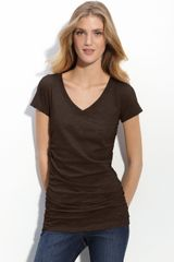 Caslon® Shirred V-neck Tee - Lyst