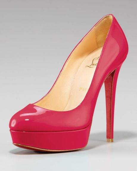 Christian Louboutin Bianca Patent Platform Pump in Red - Lyst