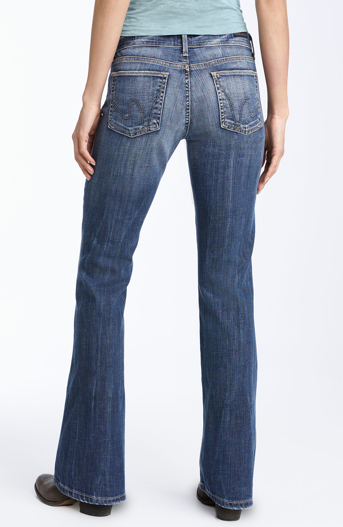 citizens of humanity dita bootcut stretch jeans wonder wash petite in blue wonder lyst. Black Bedroom Furniture Sets. Home Design Ideas