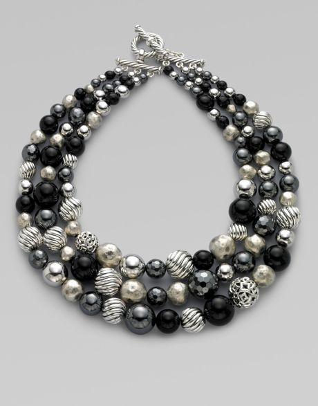 David Yurman Black Onyx Hematite Amp Sterling Silver Three