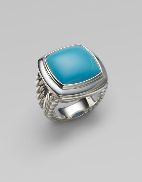 David Yurman Turquoise & Sterling Silver Split Band Ring in Silver