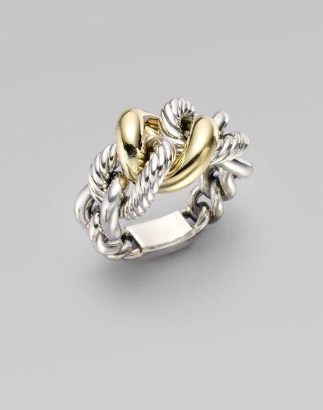david yurman sterling silver 18k yellow gold link ring