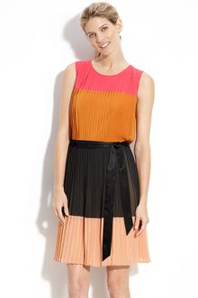 DKNY Colorblock Pleat Detail Dress - Lyst