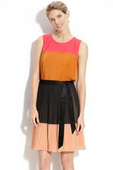 Dkny Colorblock Pleat Detail Dress in Multicolor (lipstick/ henna/ black) - Lyst
