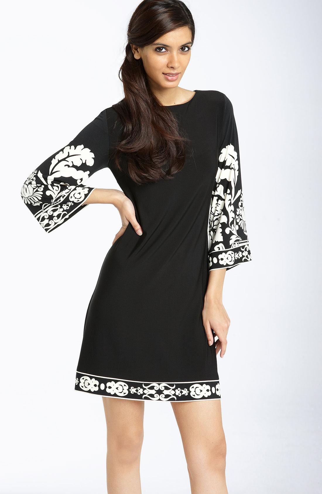 Donna morgan Print Matte Jersey Dress in Black - Lyst