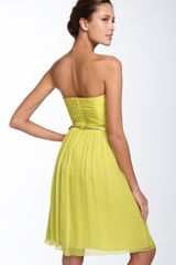 Donna Morgan Belted Chiffon Dress in Yellow (lemonade) - Lyst