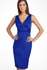 Donna Ricco Stretch Satin Sheath Dress - Lyst