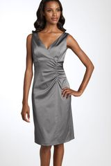 Donna Ricco Stretch Satin Sheath Dress in Gray (pewter) - Lyst