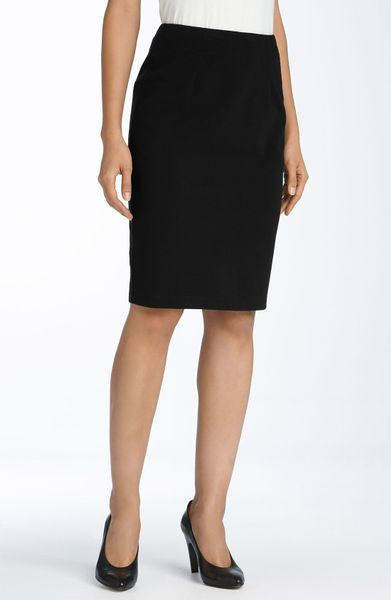 eileen fisher ponte knit pencil skirt in black lyst