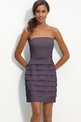 Glint Tiered Strapless Faille Dress - Lyst