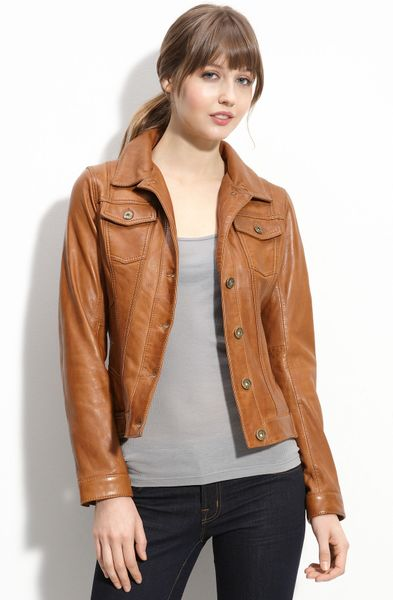 Guess Leather Jacket With Faux Fur Collar In Brown Cognac