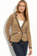 Halogen Stripe Peplum Sweater Jacket - Lyst