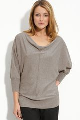 Halogen Back Button Drape Neck Sweater - Lyst