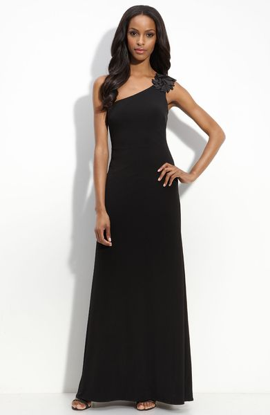 Js Boutique Flower Trim Matte Jersey Gown in Black - Lyst