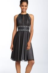 Js Boutique Cutaway Shoulder Beaded Mesh Dress - Lyst