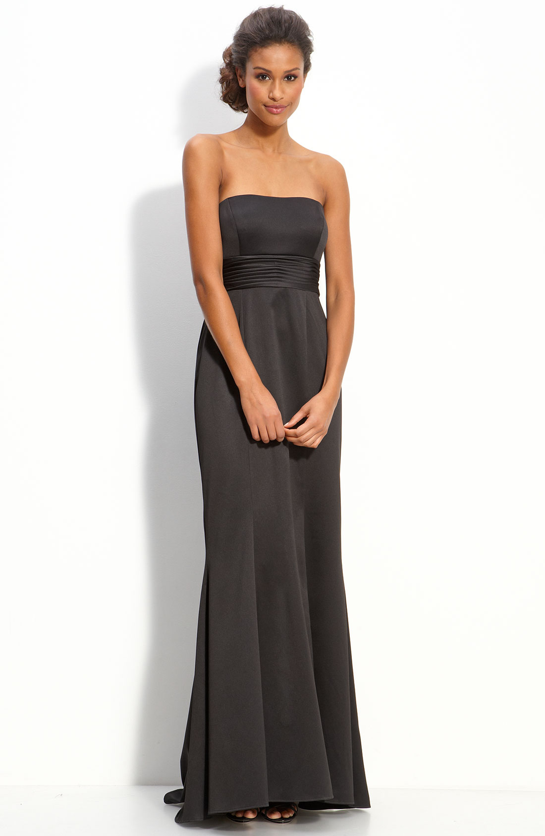 Js Boutique Strapless Stretch Satin Gown with Back Bow in ...