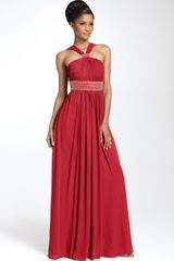 Js Boutique Cutaway Shoulder Beaded Chiffon Gown - Lyst