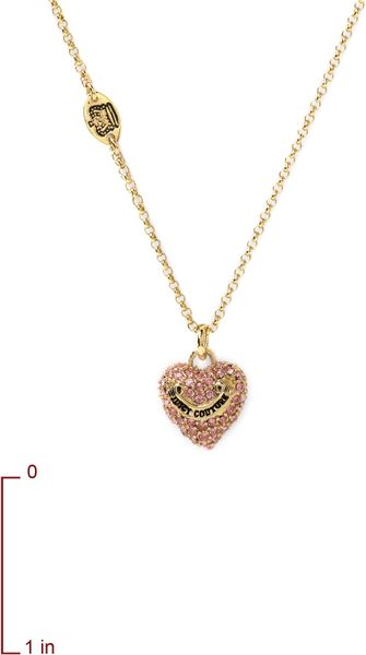 Juicy couture wish pink heart necklace in gold pink for Juicy couture jewelry necklace