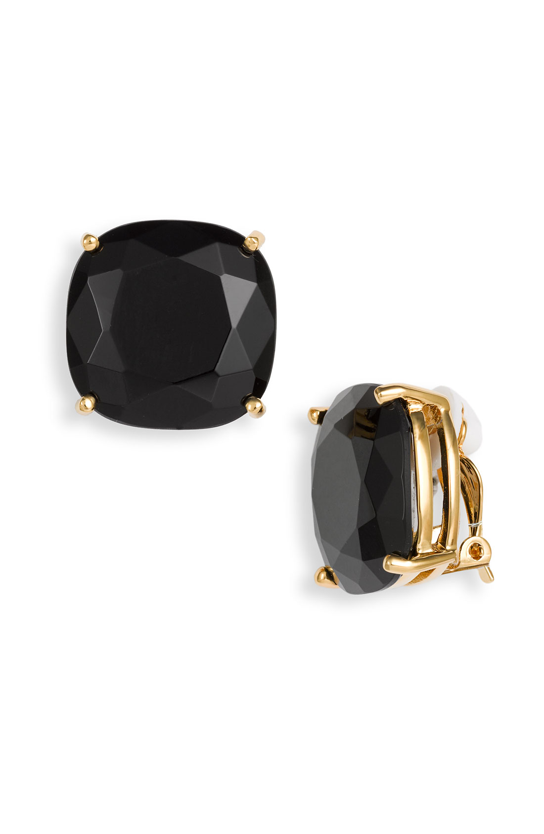 Kate Spade Large Faceted Clip Earrings In Black Lyst
