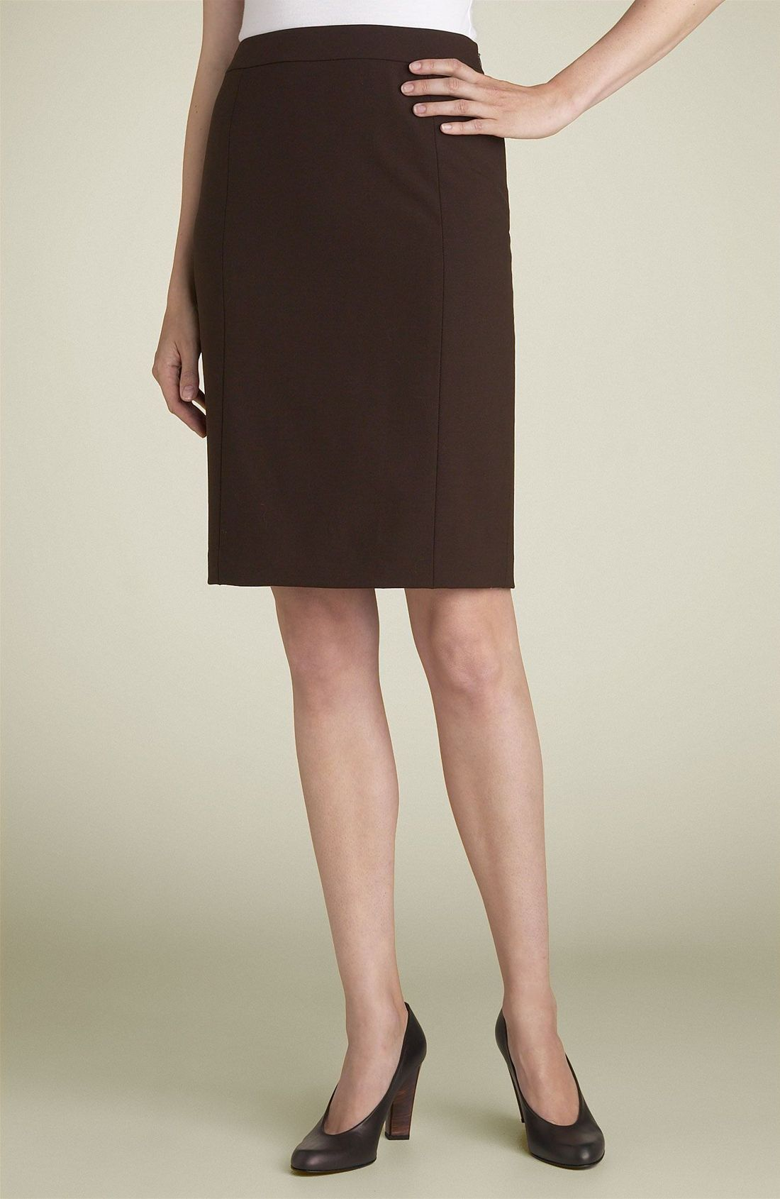lafayette 148 new york stretch wool pencil skirt in brown